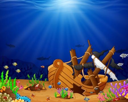 Ancient broken ship undersea