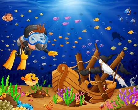 Abbildung der Taucher unter dem Meer