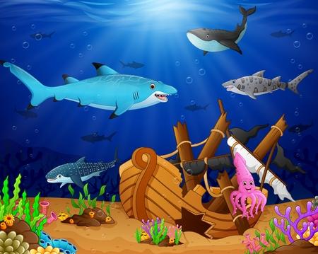 illustration of under the sea Vektorové ilustrace