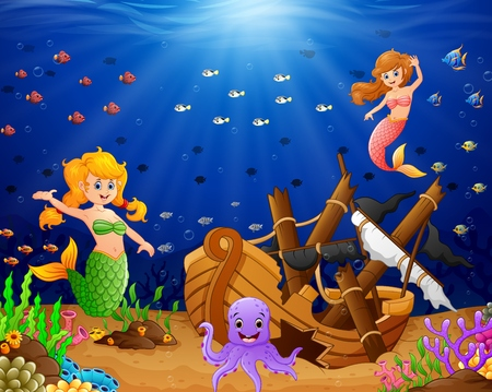 river rock: illustration mermaid under the sea