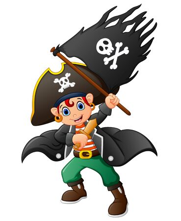 pirate flag: pirate holding pirate flag