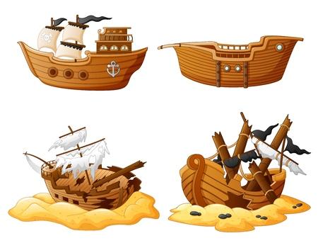 set of broken pirate ship Stock Illustratie