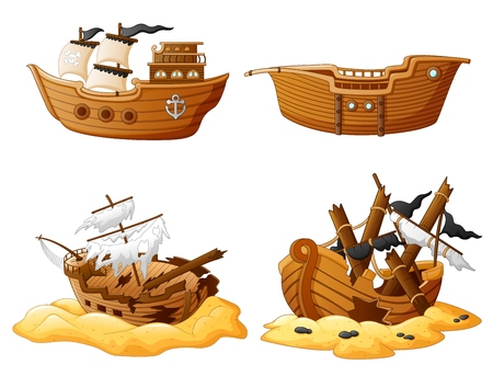 set of broken pirate ship Vectores