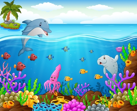 funny cartoon: cartoon fish under the sea