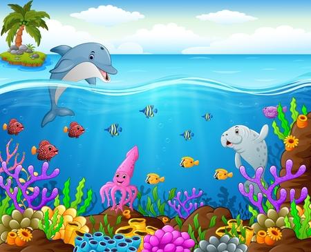 cangrejo caricatura: dibujos de peces bajo el mar