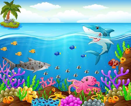 isles: cartoon shark  under the sea