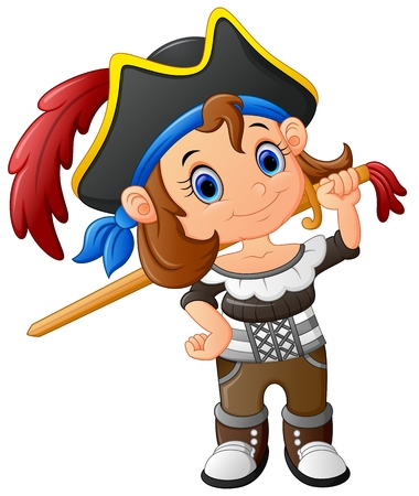 pirate girl: pirate girl holding wooden sword