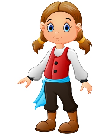pirate girl: Cute little pirate girl isolated on a white background