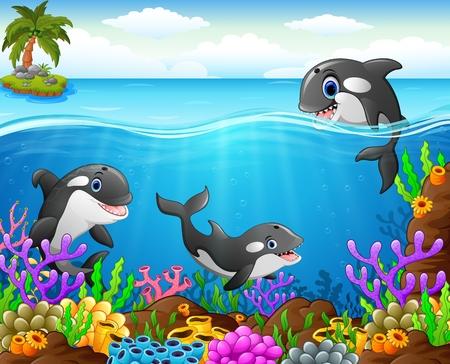 isles: cartoon whale under the sea Stock Photo