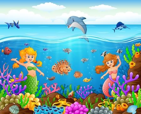 enchanting: cartoon mermaid under the sea Stock Photo