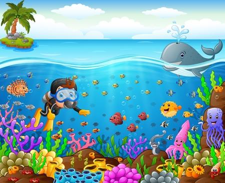 plongeur de bande dessinée sous la mer Vecteurs
