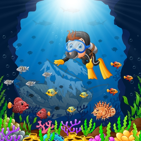 deep sea diver: cartoon diver under the sea