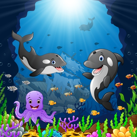 cartoon whale under the sea Stock Photo