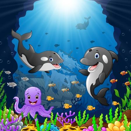 cartoon whale under the sea Vektorové ilustrace