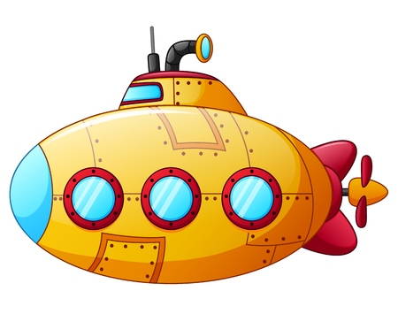 cartoon yellow submarine 스톡 콘텐츠