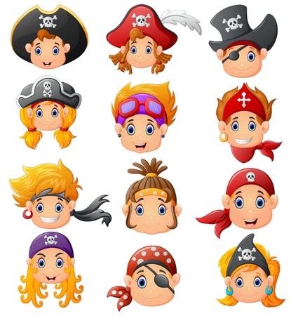 Ensemble dessin animé tête de pirate Banque d'images - 55438081
