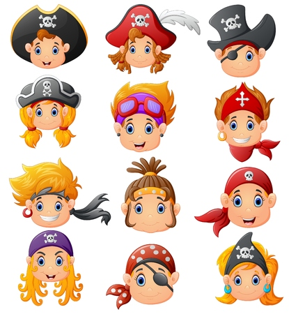 set cartoon pirate head Illustration