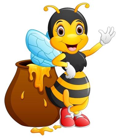 cute cartoon: Cute bee cartoon waving