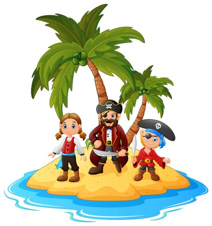 pirate crew: cartoon pirate in the island