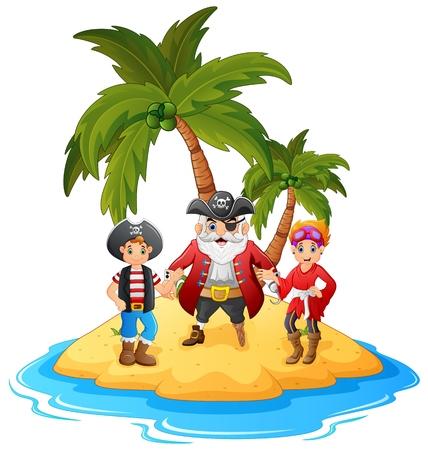 pirate crew: cartoon pirate in the island