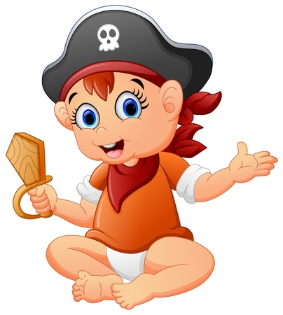 stage costume: Pirate kid holding a wooden knife