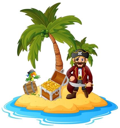 isla del tesoro: Pirata en la isla del tesoro