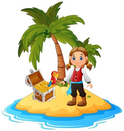 treasure island: women Pirate in the treasure island Stock Photo
