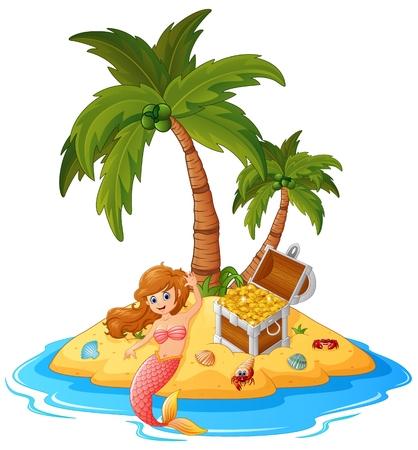 treasure island: mermaid in treasure island Illustration