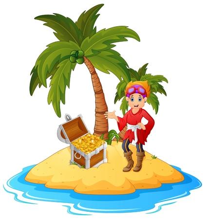 treasure island: women Pirate in the treasure island Illustration