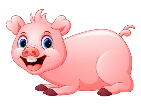 lay: cartoon pig lay down