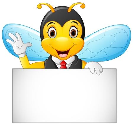 cartoon bee hold blank sign