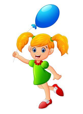 little child: little girl holding balloon Illustration
