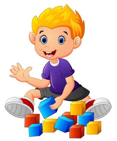 little boy play bricks