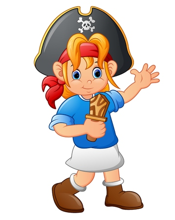 girl with knife: pirate girl holding wooden knife Illustration