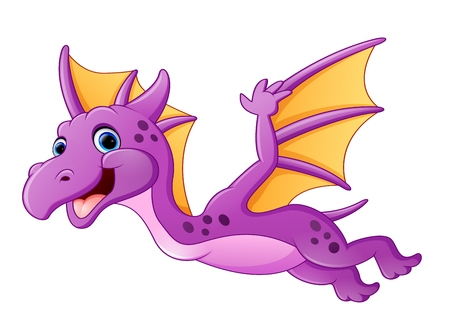 Cute dragon flying Vettoriali