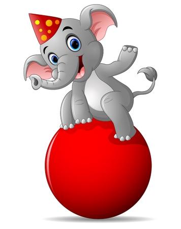 cartoon circus elephant as acrobat Illustration