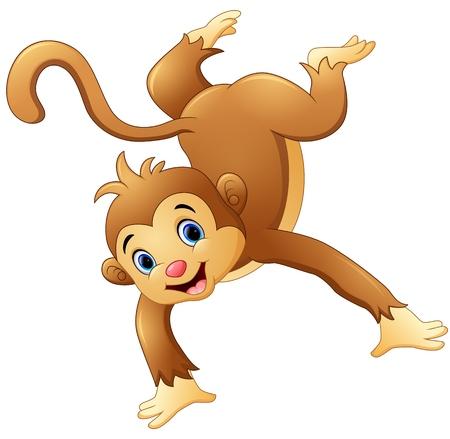admiring: Dancing Monkey on white background Illustration