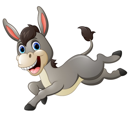 Cute donkey cartoon running 일러스트