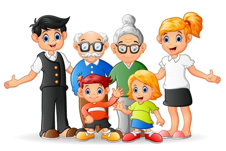 Happy cartoon family Illusztráció