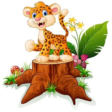 Cartoon baby cheetah on tree trunk