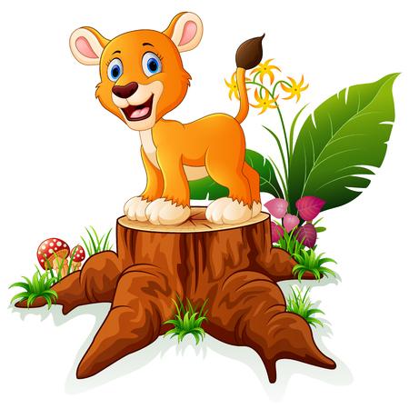 tree stump: Cartoon baby lion on tree stump Illustration