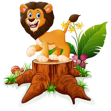 tree stump: Cartoon lion on tree stump