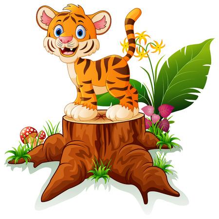 tigre bebe: Historieta del tigre de beb� divertido que se presenta en toc�n de �rbol Vectores