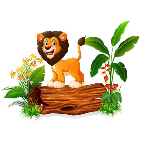 Cartoon lion posing on tree trunk