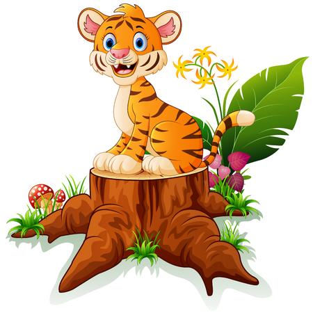 tree stump: Cartoon tiger sitting on tree stump