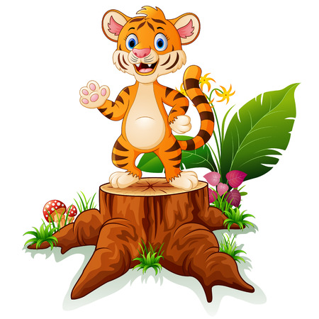 Cute baby tiger posing on tree stump Illustration