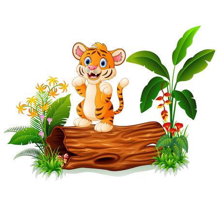 tigre bebe: tigre de beb� de dibujos animados en tronco de �rbol