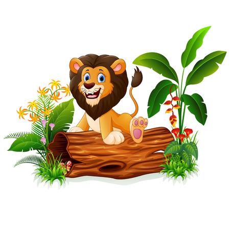 Cartoon lion sitting on tree trunk