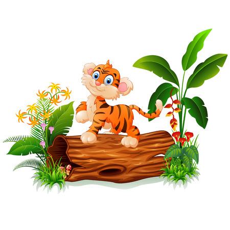 나무 줄기에 만화 아기 호랑이 일러스트