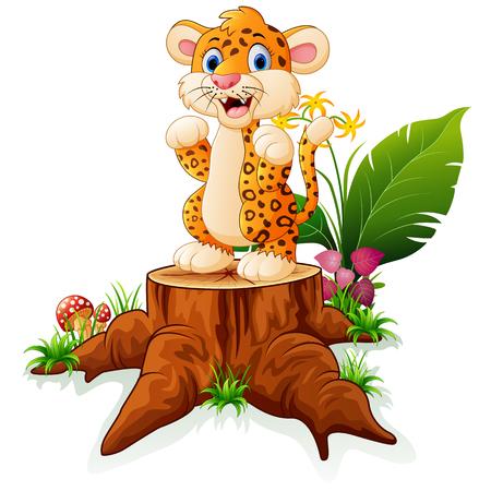 tree stump: Cartoon cheetah standing on tree stump